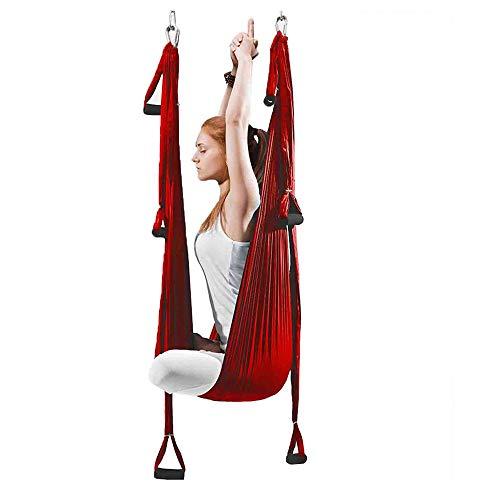STARCLOCK Hamaca De Yoga Aérea De Reversión Interior, Hamaca De Fitness De Swing De Yoga, Hamaca De Antitravismo De Tela De Paracaídas Al Aire Libre, Vino Rojo-con Accesorios,Rojo,250x145cm