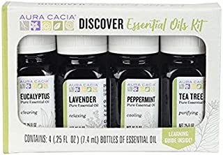 Aura Cacia Discover Essential Oils Kit | GC/MS Tested for Purity | 4 Bottles 7.4ml (0.25 fl. oz.)