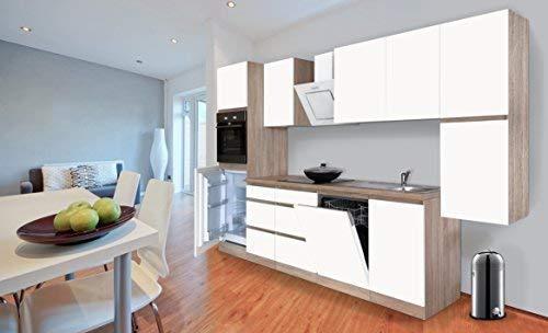 respekta Premium grifflose Küchenzeile Küche 330 cm Eiche Sonoma Weiss Matt inkl. Induktionskochfeld