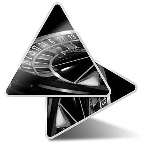 2 pegatinas triangulares de 7,5 cm – BW – ruleta rueda casino divertidos calcomanías para portátiles, tabletas, equipaje, reserva de chatarra, nevera # 39421