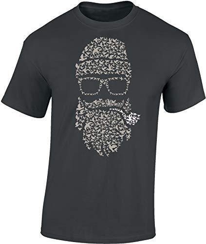 Camiseta: Bird's Beard - Barba de Pájaro - Fígaro - Bigote - Biker - Hipster - Marino - Fun T-Shirt - Barber-Shop - Hombre-s y Mujer-es - Fumar - Pipa - 420 - Retro (XXL)