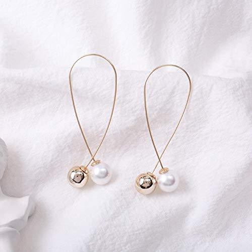 Nuevos pendientes de perlas de imitación de cruz largos pendientes de moda simples joyería de boda de las mujeres