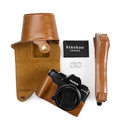 Estuche Fuji X-T100, Bolso de la Cubierta del Cuero de la PU del kinokoo para la protección Completa de la cámara FUJIFILM X-T100 (marrón)