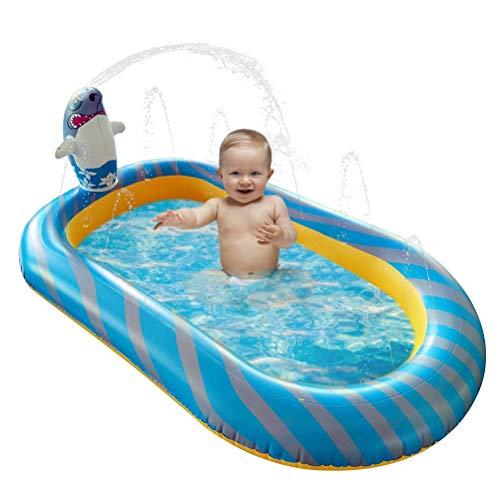 Inflable de la piscina del aspersor para los niños 170*103*65cm de dibujos animados del tiburón de la piscina del bebé del vadeo de la natación del agua juguetes al aire