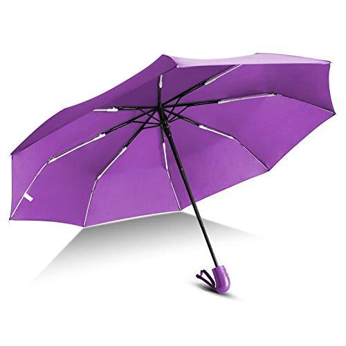 Parasol Parapluie Automatique 3 Pliant Parapluie Pluie Femmes Hommes Mini Léger Et Durable Forte Parapluies Colorés Voyage Parasol Violet