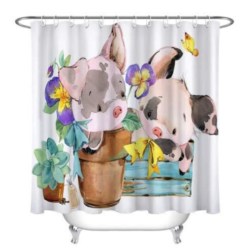 nobrand Duschvorhang Cartoon Aquarell Nettes Schwein Farm Animal Duschvorhang Wasserdicht Badezimmer Gardinen Stoff Für Kinder Badewanne Dekor 180x200cm