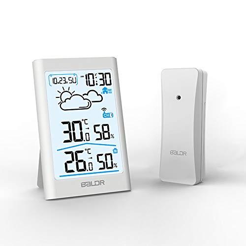HITECHLIFE Termómetro Inalámbrico Interior Habitación Exterior Digital Higrómetro Monitor De Humedad Y Medidor De Temperatura Instrumento De Medición De Sauna Termómetro De Temperatura - Blanco