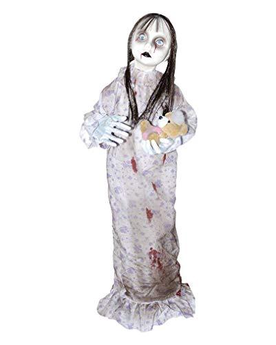 Horrorpuppe Creepy Doll mit Plüsch-Teddy als Extreme Halloween Dekoration