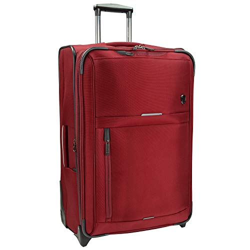 Traveler's Choice Birmingham Ballistic Nylon Expandable Rollaboard Luggage, Red, Checked-Large 29-Inch