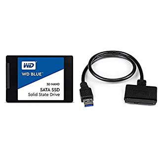 """Western Digital 1TB WD Blue 3D NAND Internal PC SSD & StarTech USB3S2SAT3CB SATA to USB Cable USB 3.0 to 2.5"""" SATA III Hard Drive Adapter External Converter for SSD/HDD Data Transfer (B08S8M1PYJ) 