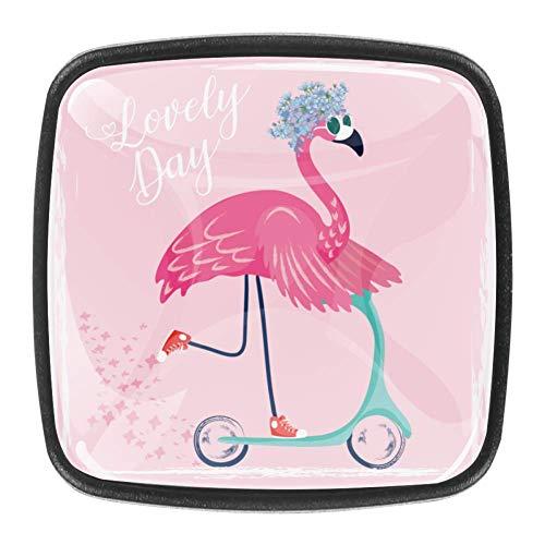 Perillas de metal para tocador Tiradores para cajones de cocina Perillas de gabinete Gabinete de baño Cristal de cristal Flamenco lindo con gafas de sol Armario Armario 4 piezas