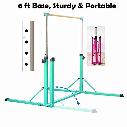 PreGymnastic Extra Stable Foldable & Movable Gymnastics Kip Bar/Junior Training Bar/Stainless Steel Regulating Arm & Strong Fiberglass Rail