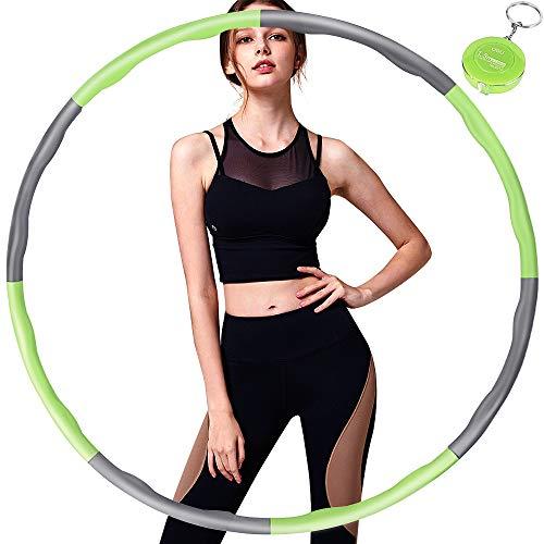Hula Hoop Fitness, Hula Hoop Adultos Desmontable con Espuma, Professional Hula Hoop Adultos Fitness 1,2kg para Adelgazar, Ancho Ajustable (19-35in),Aro de Fitness con Mini Cinta Métrica