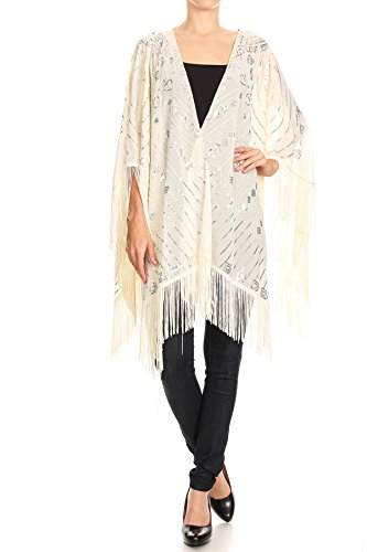Anna-Kaci Womens oversized hand kralen en pailletten avond sjaal wrap met franje
