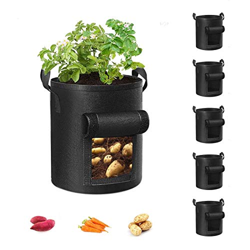 Cavisoo 5-Pack 10 Gallon Potato Grow Bags, Garden Planting Bag with Durable Handle, Thickened Nonwoven Fabric Pots for Tomato, Vegetable and Fruits