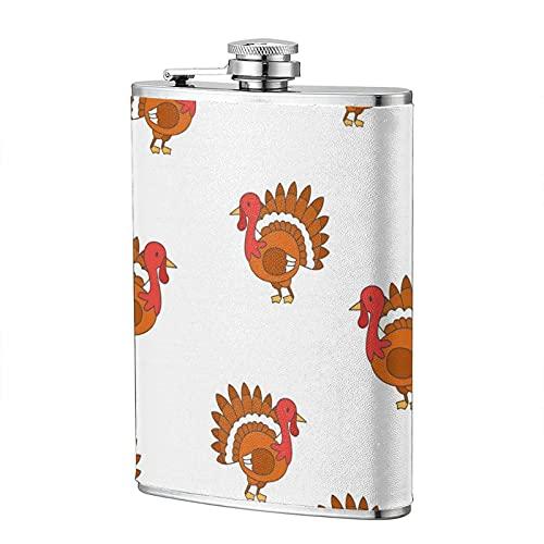 mengmeng Petaca portátil de bolsillo de acero inoxidable con diseño de pájaros de pavo de Acción de Gracias, 8 onzas, para escalada, camping, barbacoa, bar, fiesta, bebedor