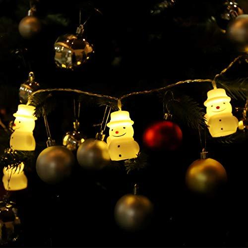 SALCAR Schneemann, LED-Lichterkette 1,5 m, 10 LED-Schneemann, Weihnachten dekoratives Licht. Angetrieben von 2AA Batteriebaum, Lichterkette - Warmweiß
