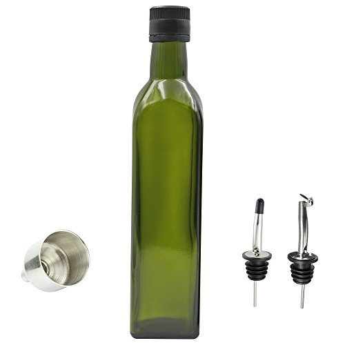 17 oz Olive Oil Bottle Dark Green Kitchen Olive Oil Dispenser with Oil Dispensing Pour Spouts for Easy Pouring and Funnel for Refilling,Against Sunlight and Leakage-free Oil and Vinegar Dispenser