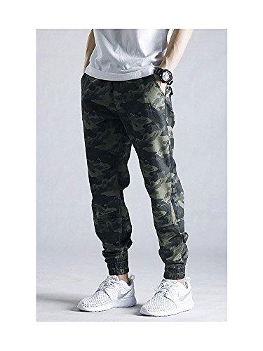 OCHENTA Men's Casual Twill Drawstring Jogger, Slim Fit Tapered Chino Pants #1235 Khaki Camo Tag 34 – US 32
