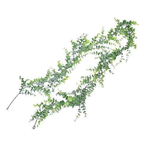 GRASARY Guirnalda de hojas artificiales para colgar, 180 cm, color verde y blanco