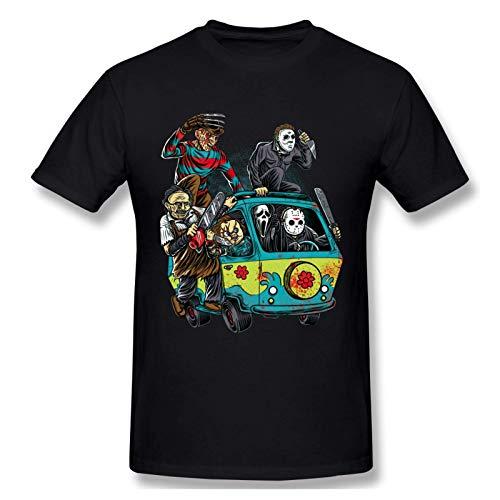 IUBBKI Camiseta básica de Manga Corta para Hombre Halloween Michael Myers Horror Movie Vintage Mens T-Shirt Black