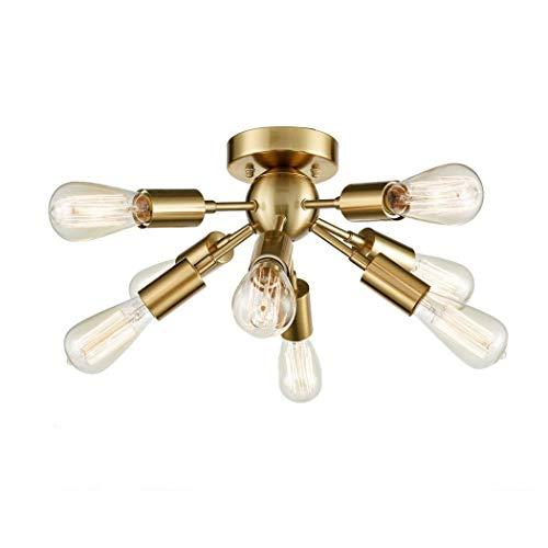 NBPLUS Moderne Deckenleuchte 9-Lampe Sputnik-Lampe, E27 Lampenfassung Metallleuchter hängendes Licht, für Wohnzimmer Esszimmer Schlafzimmer Küche Lichtkuppel,Gold