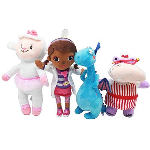 EASTVAPS 4pcs Docteur McStuffins Maiden Petite Fille Peluche Jouet de Laine Docteur Dragon