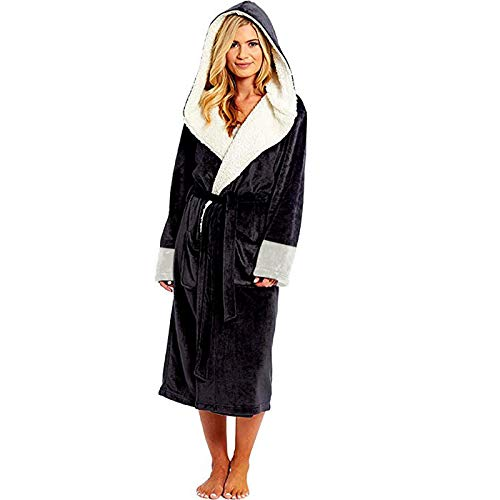 LEYUANA Amantes Albornoz de baño Kimono de Coral cálido y Grueso, Albornoz Largo térmico de Invierno para Mujer de Talla Grande 4XL Bata Negra