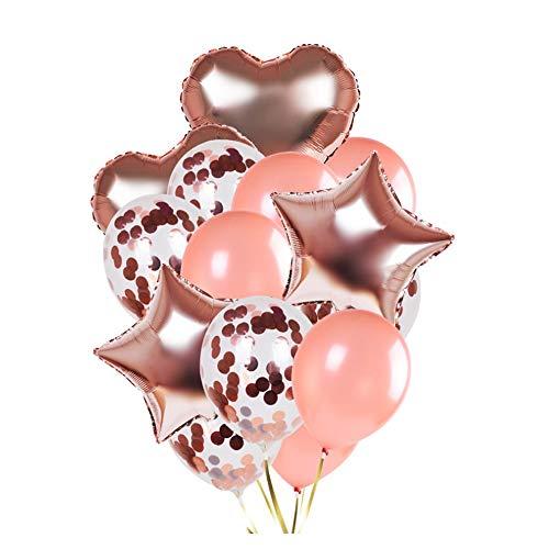 14Pack Juego de Globos de látex y Confeti, Globos en Forma de corazón y Estrella para Bodas Decoración de Fiesta de cumpleaños, duchas de Novia y bebés, telón de Fondo, Globo, Oro Rosa