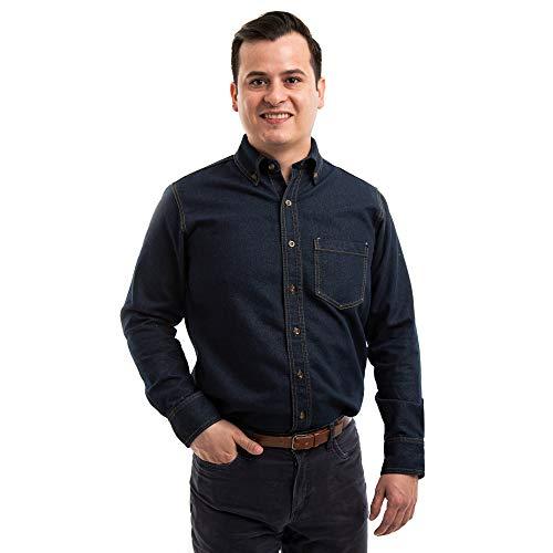 STANLIT Camisa De Mezclilla en Manga Larga para Caballero, Camisa Casual, Camisa para Uniforme, con Botones (Azul, S)