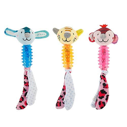miuse 3 Stück TPR und Plüsch Hundespielzeug, Langlebig Kauspielzeug Quietschspielzeug und Interaktives Spielzeug für Kleine und Mittelgroße Welpen