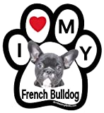 I Love My French Bulldog (black) paw magnet
