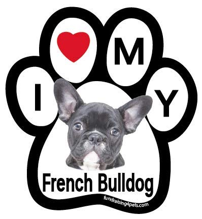 I Love My French Bulldog (black) paw magnet