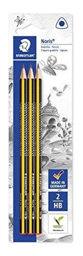 STAEDTLER Bleistift Noris (hohe Bruchfestigkeit, ergonomische Dreikantform, rutschfeste Soft-Oberfläche, Wopex-Material, Härtegrad HB, Köcherpackung, 183-HBBK3)