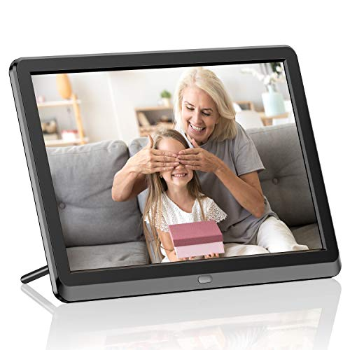 Digital Picture Frame 10 Inch HD 1280X800P with Remote Control, Digital Photo Frame 16:9 IPS Display Auto Slideshow Zoom Image Stereo Video Music Player Support USB SD Card 180° View Angle (Black)