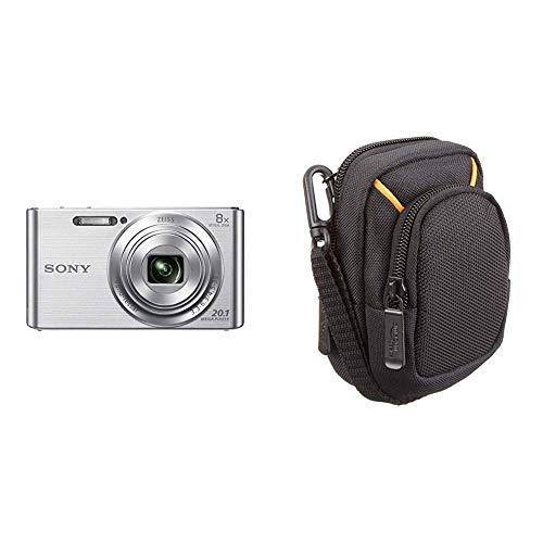 Sony DSC-W830 Fotocamera Digitale Compatta, Sensore Super HAD CCD da 20.1 MP, Obiettivo ZEISS Vario-Tessar, Argento & AmazonBasics - Custodia per fotocamera compatta, misura media