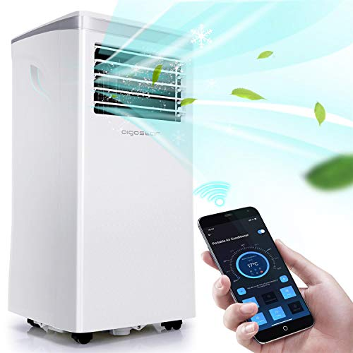 Aigostar 3-in-1 Portable Air Conditioner, 10,000 BTU Dehumidifier, Fan, App & Remote Control, Rooms up to 350 sq.ft for Home, Office, Living Room, with Easy-to-Install Window Kit, White
