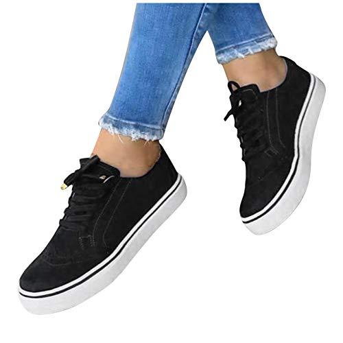 BIBOKAOKE Scarpe da donna estive Espadrille Classic Low sneakers per il tempo libero, scarpe sportive piatte in tela sneakers comode, scarpe da ginnastica singole, da donna, Donna, Nero 1, 37 EU