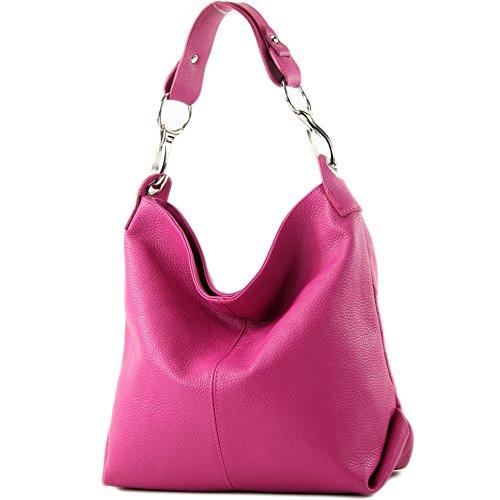 modamoda de - T168 - ital Schultertasche Umhängetasche aus Leder, Farbe:Pink