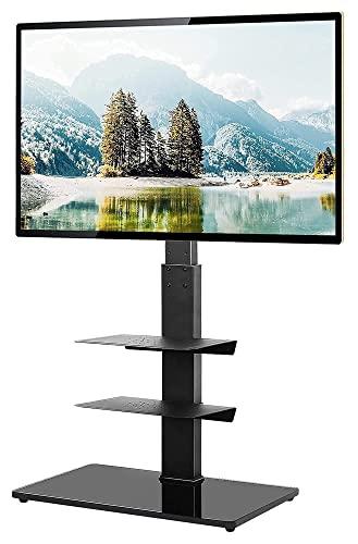 WERYU Soporte Giratorio De Suelo para TV para Televisores LCD Led De Pantalla Plana/Curva De 32 A 65 Pulgadas conEstante (Negro)