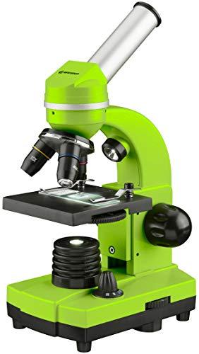 Bresser Junior Schülermikroskop BIOLUX SEL mit Smartphonehalter, reichhaltigem Zubehör und Barlow-Zoom-System für Kinder, Einsteiger und Erwachsene, grün