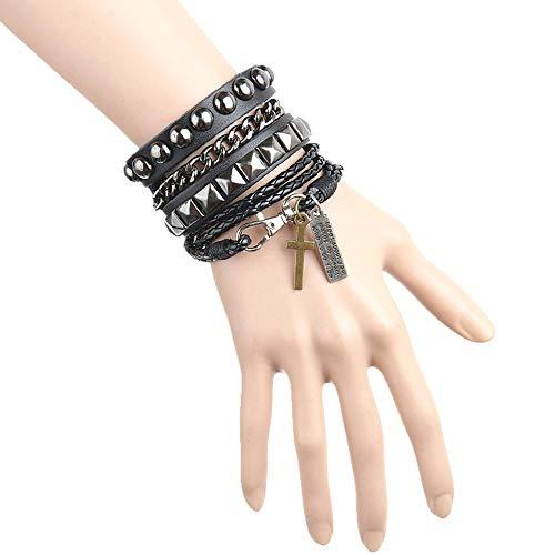 Huture Punk Leder Armband Manschette Bracelet mit Alloy Quaste Bangle Wristband Nieten Stil Leder Armreif Verstellbaren Armreifen für Männer und Frauen, Schwarz