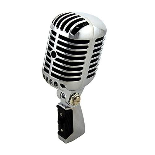 WZMPH Classico Microfono vocale dinamico retrò, Professionale cablato Vintage Microfono Classico dinamico Mobile Bobina Deluxe Metallo vocale Vecchio Stile ktv Mic Mic