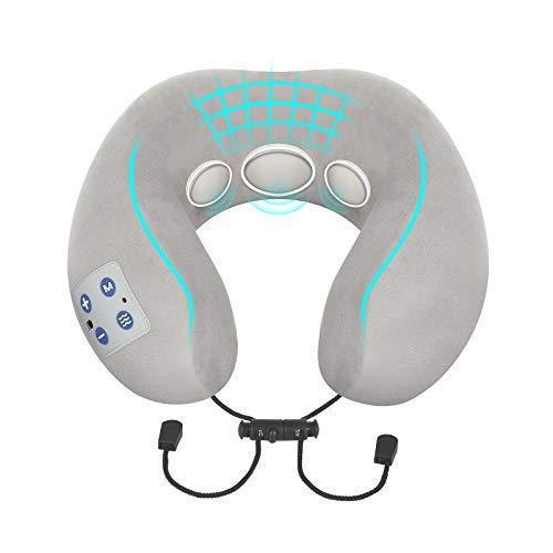 Nackenmassagegerät, BOMBOMDA Intelligentes Nackenmassagegerät mit Wärmefunktion, Elektrisches TENS Puls Rückenmassagegerät - 9 Modi 15 Intensitätsstufen Verwendung zu Hause, Büro, Freien,Auto