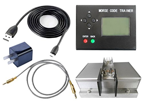 Morse Code Trainer, cjc LCD Telegraph Short Wave Radio Station Telegraphy CW Auto Key Radio Transmitter - Full Set