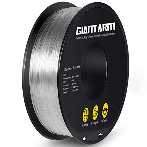 GIANTARM Filamento PLA 1,75 mm stampante 3D PLA Filamento 1,75 mm 1 kg Bobina Trasparente