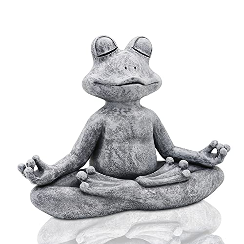 Goodeco The Original Meditating Zen Yoga Frog Figurine Garden Statue - Indoor/Outdoor Garden Sculpture for Home, Patio, Yard or Lawn,12.5'x4.9'x10'