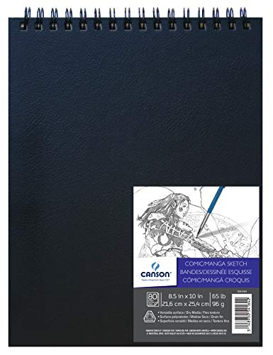 Canson Comic Manga Sketch Art Book Paper Pad, Top Wire Bound, 65 Pound, 8.5 x 10 Inch, 80 Sheets, 8.5