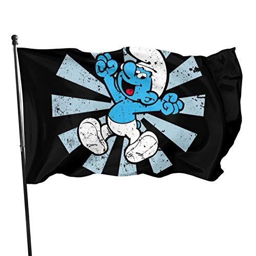ghjkuyt412 3x5 FT Home Decoration Smurf Retro Japanese The Smurfs Garden Flag Indoor Outdoor Flag