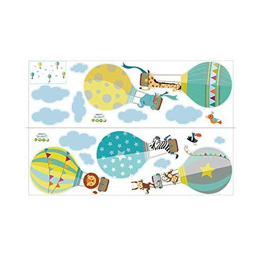 Brillie Vinilo Infantil Globos Aerostáticos De Animales Pegatinas De Pared Adhesivo Decorativos para Habitación Infantiles Guardería Niños Bebés Dormitorios